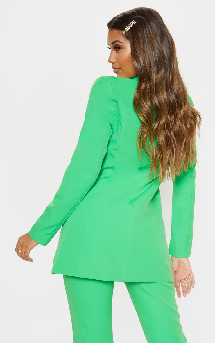 Bright Green Double Breasted Woven Blazer    2