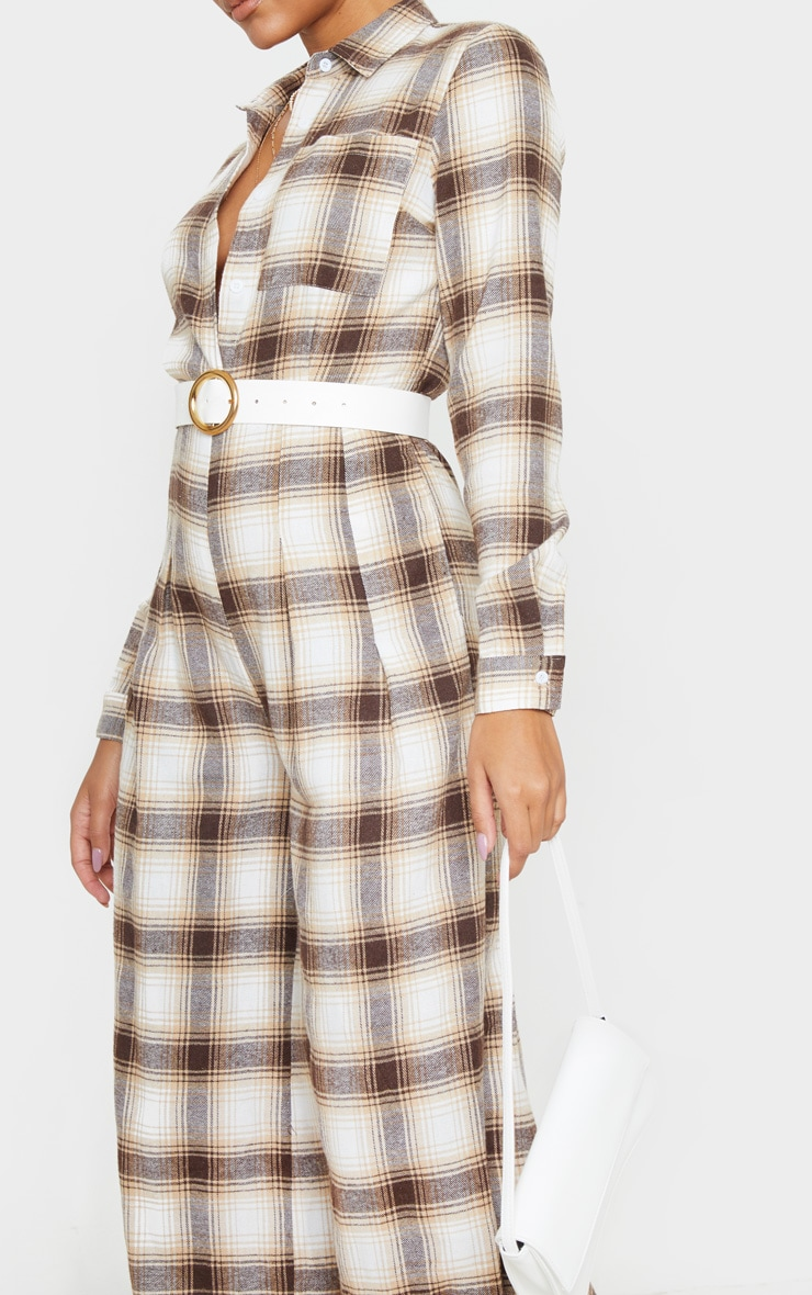 Beige Checked Oversized Wide Leg Jumpsuit 5