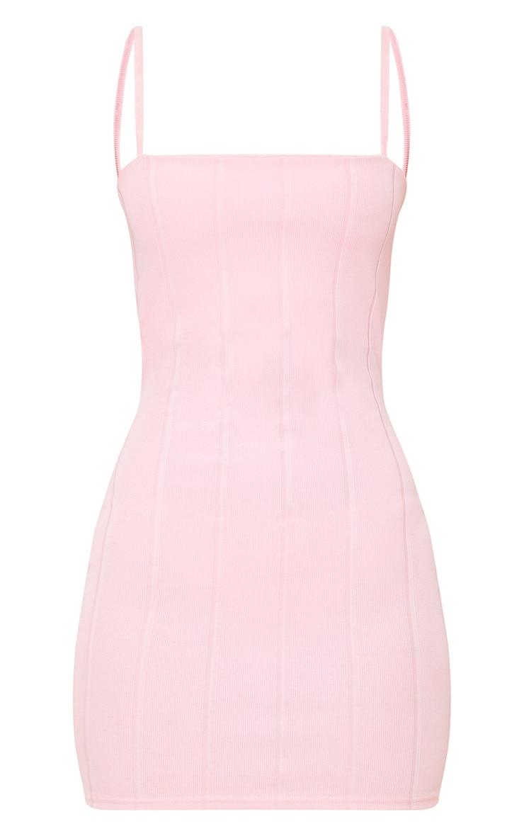 Pink Straight Neck Bandage Bodycon Dress 4