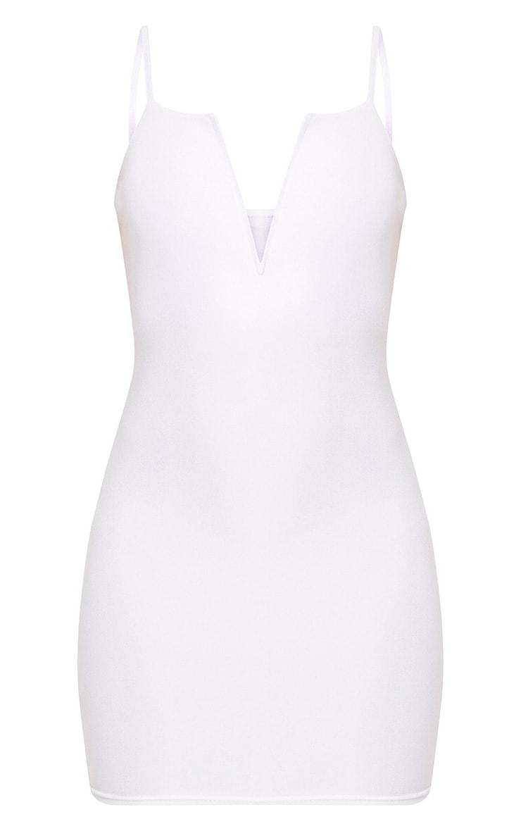 White Strappy Plunge Bodycon Dress 3