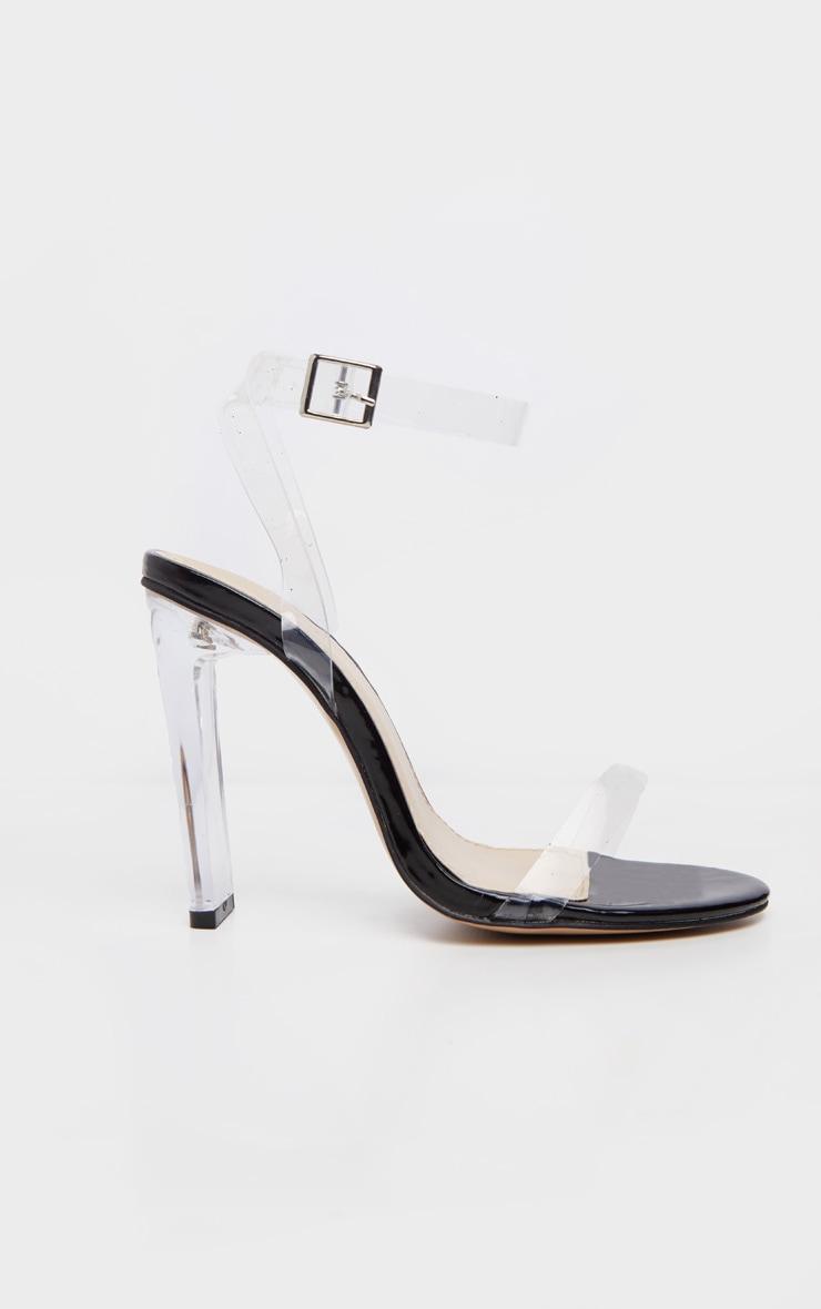 Black Flat Heel Clear Strap Sandal 3