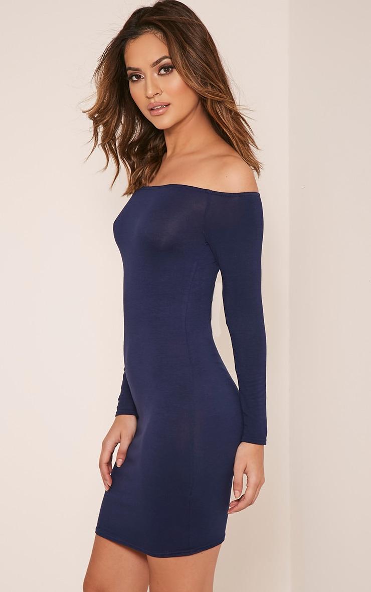 Basic robe moulante bardot bleu marine 4