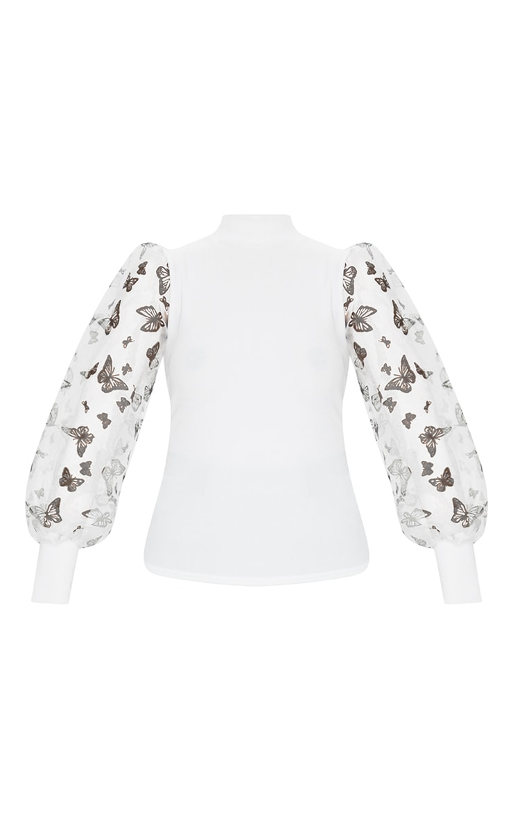 White Rib High Neck Sheer Butterfly Print Puff Sleeve Long Top 5