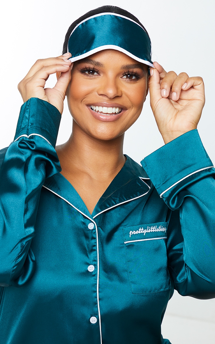 PRETTYLITTLETHING Plus Emerald Green Embroidered Satin Nightshirt with Eyemask 4