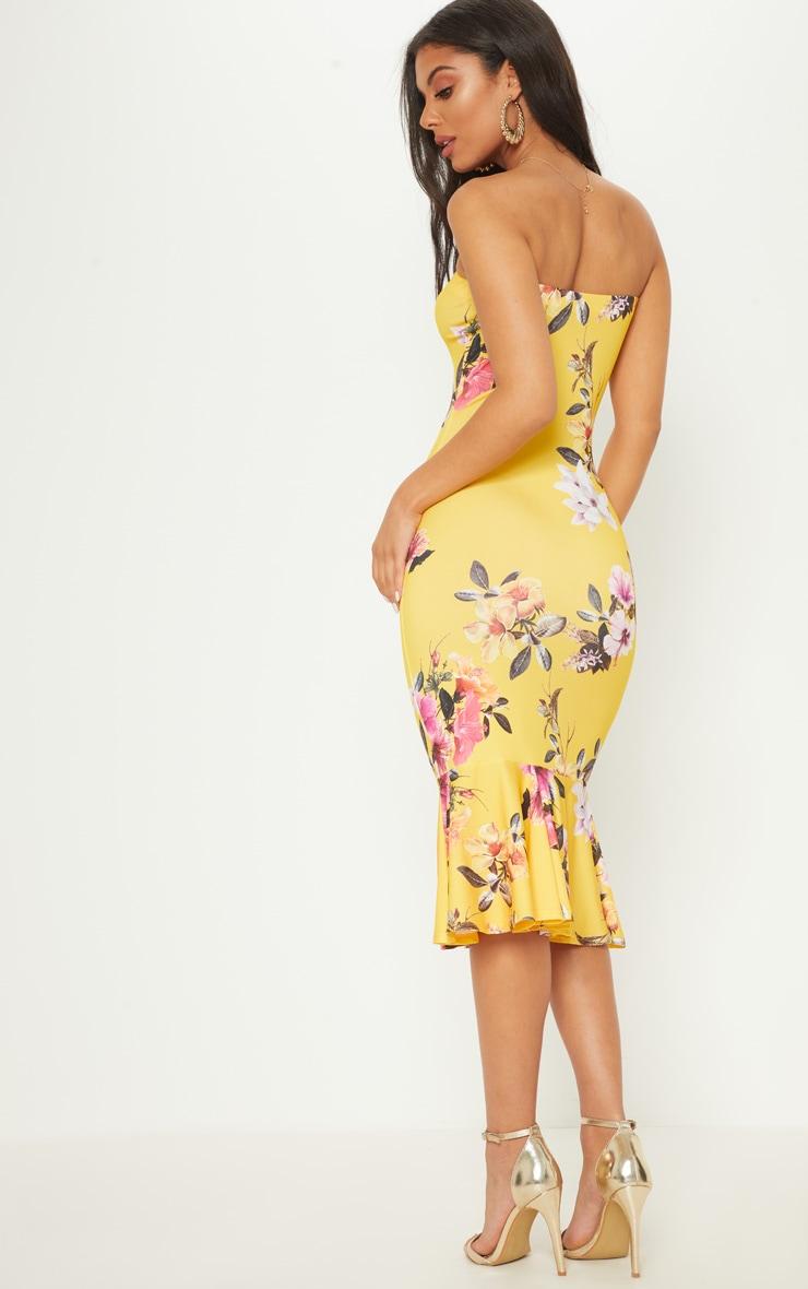 Bright Yellow Floral Print Bandeau Fishtail Midi Dress 2