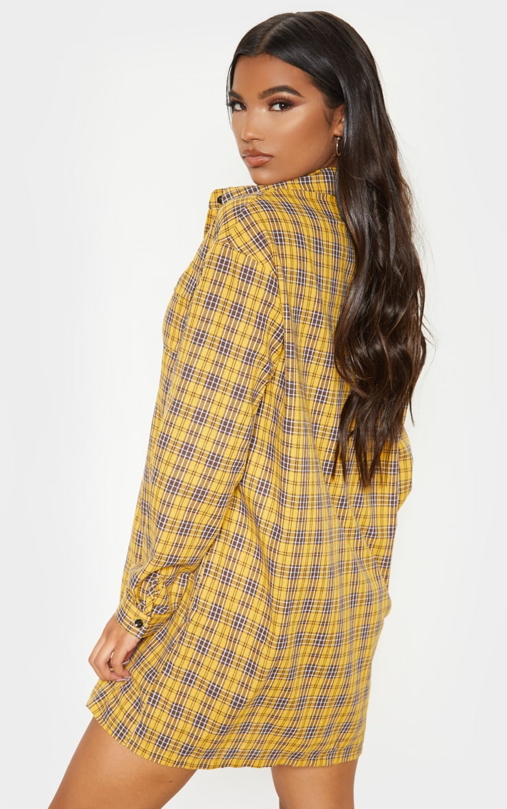 Yellow Checked Oversized Shirt Dress 2
