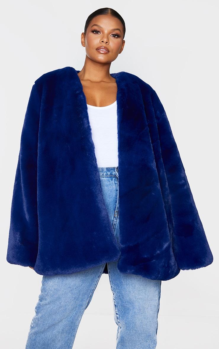 Plus Blue Faux Fur Coat 3