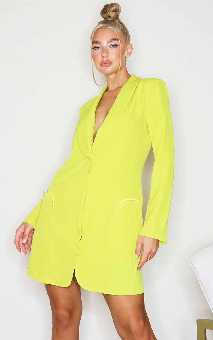 Lime Long Sleeve Curved Pocket Detail Blazer Dress 1