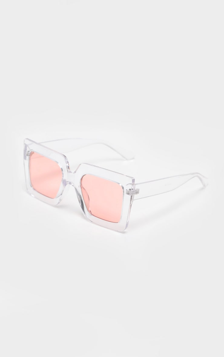 Pink Lens Angular Frame Retro Sunglasses 3