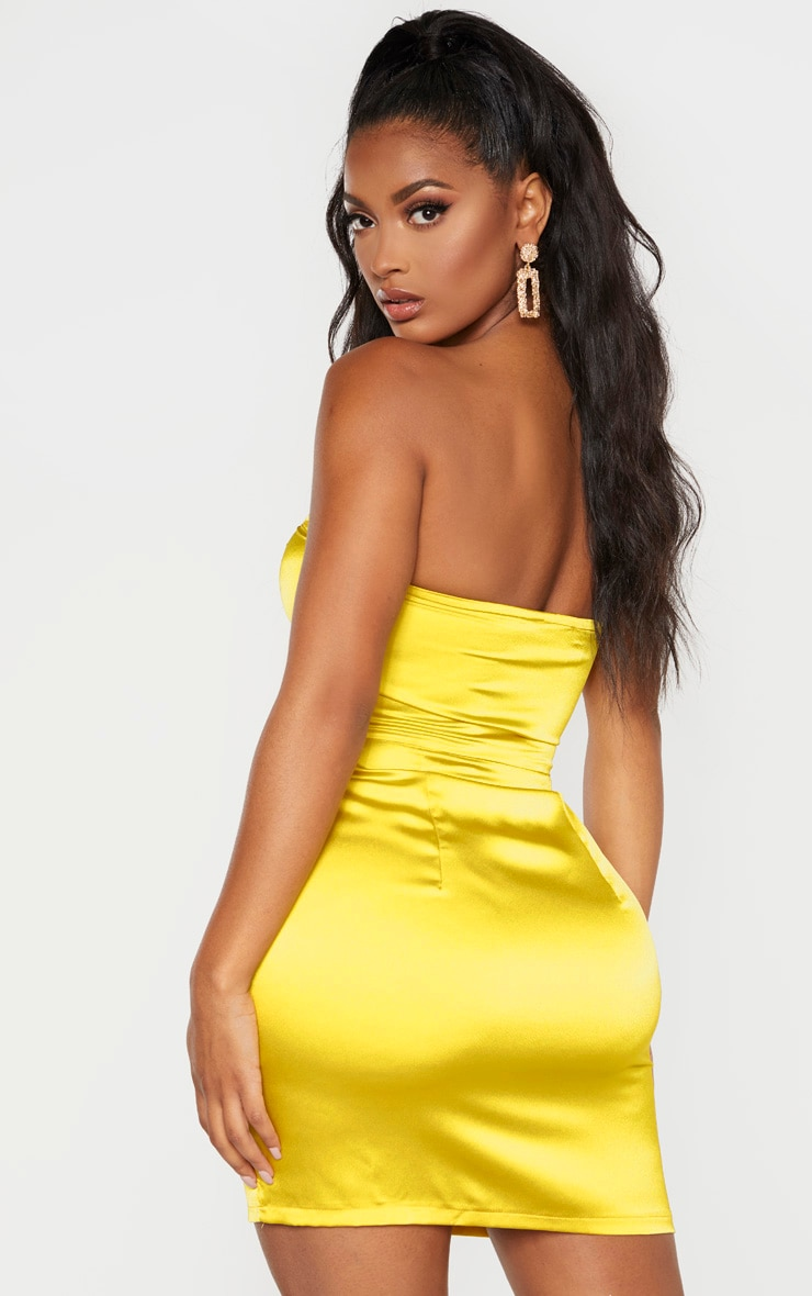 Shape Chartreuse Cut Out Ruched Bust Bodycon Dress 2