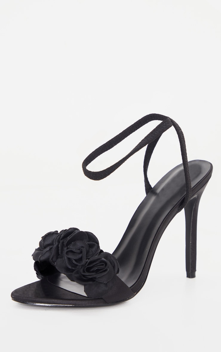 Black Flower Trim Strappy Sandal 4