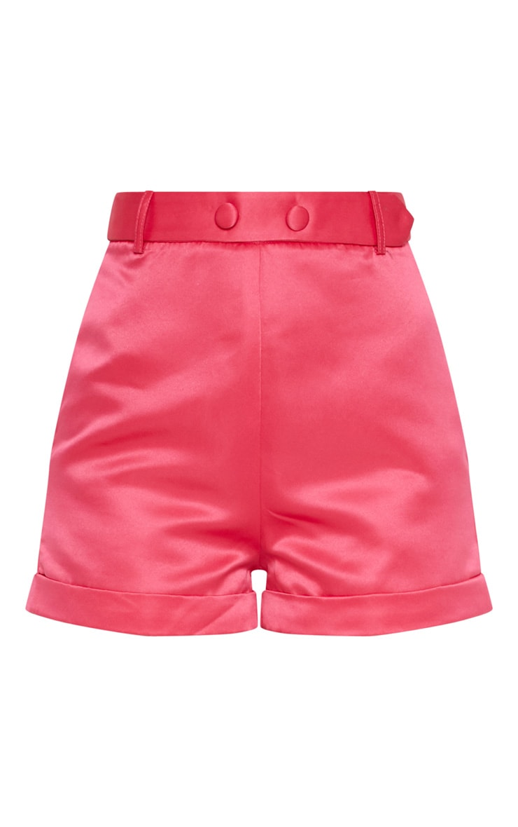 Hot Pink Satin Suit Shorts 3