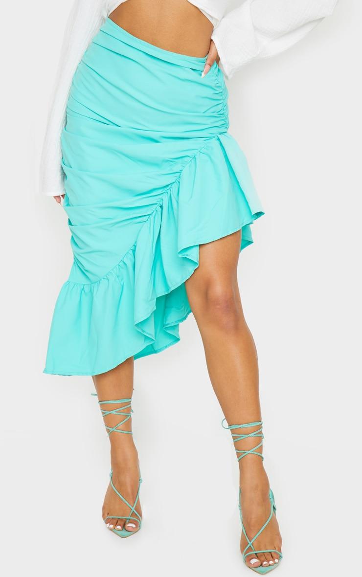 Aqua Ruched Frill Hem Midi Skirt 2