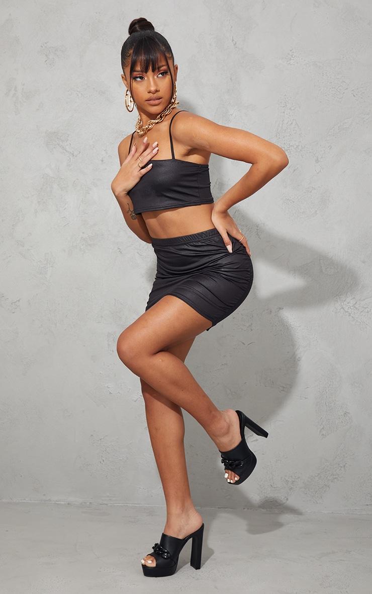 Black Slinky Wet Look Ruched Side Mini Skirt 4
