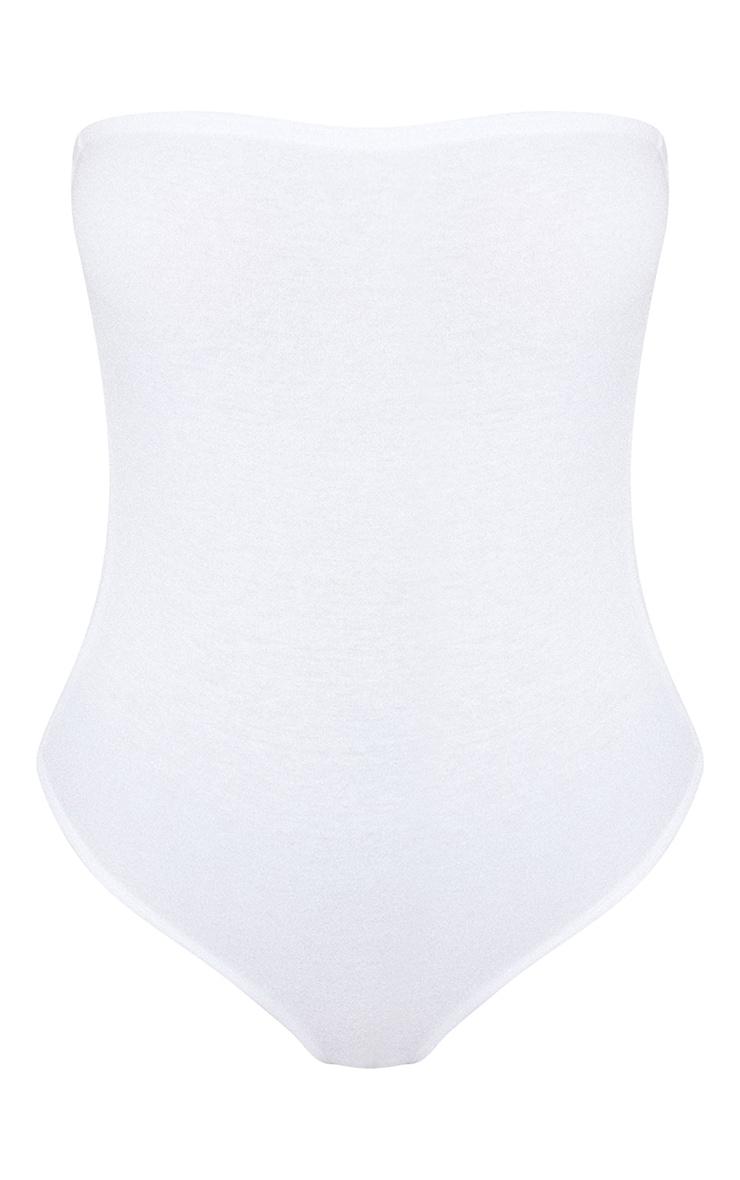 Basic White Cotton Blend Bandeau Bodysuit 5