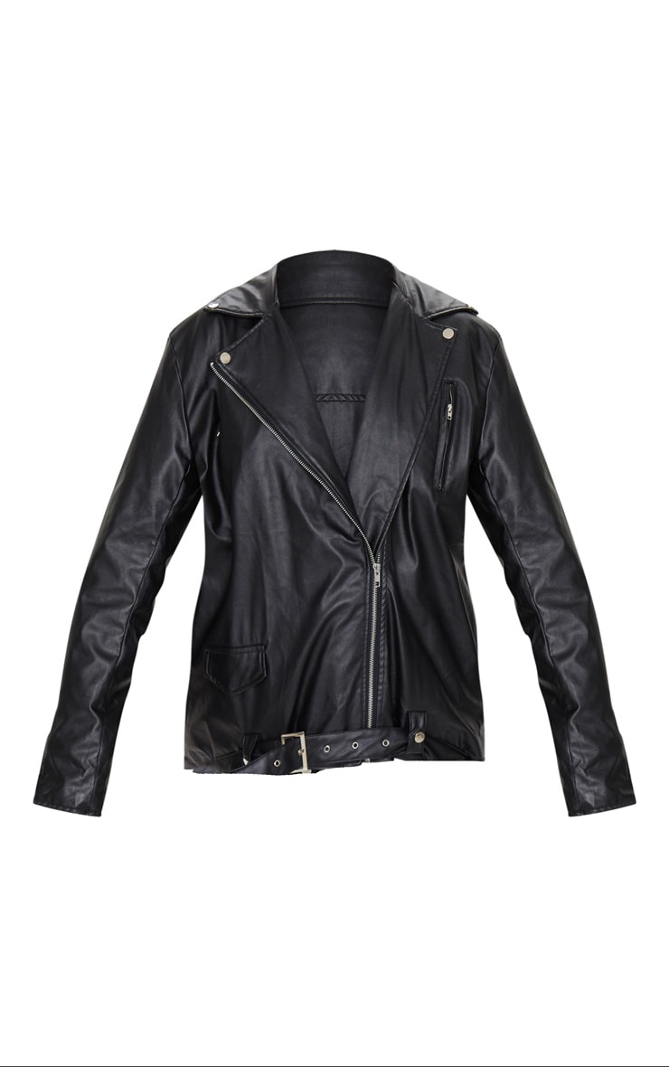 Black Faux Leather Oversized Biker Jacket 6