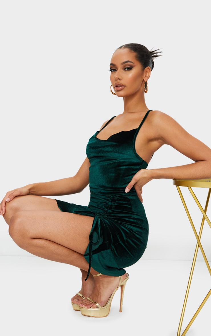 Emerald Green Velvet Strappy Ruched Frill Hem Bodycon Dress 3