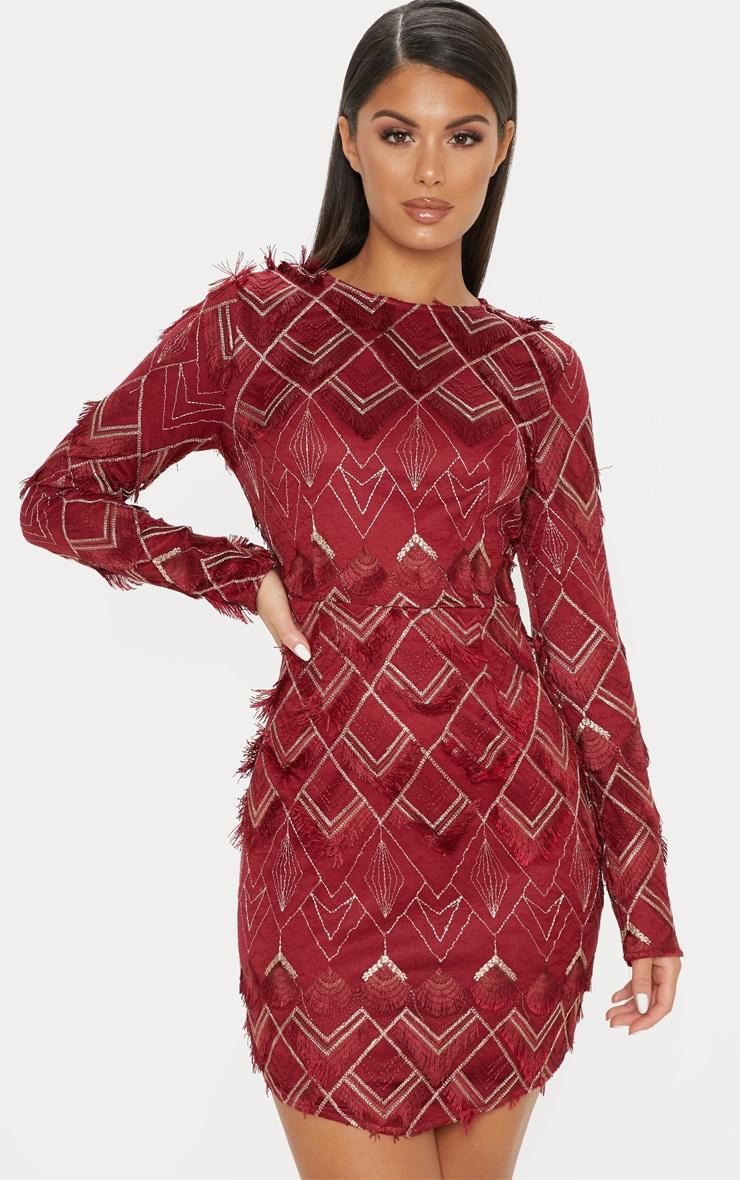 Burgundy Embroidered Tassel Bodycon Dress 1