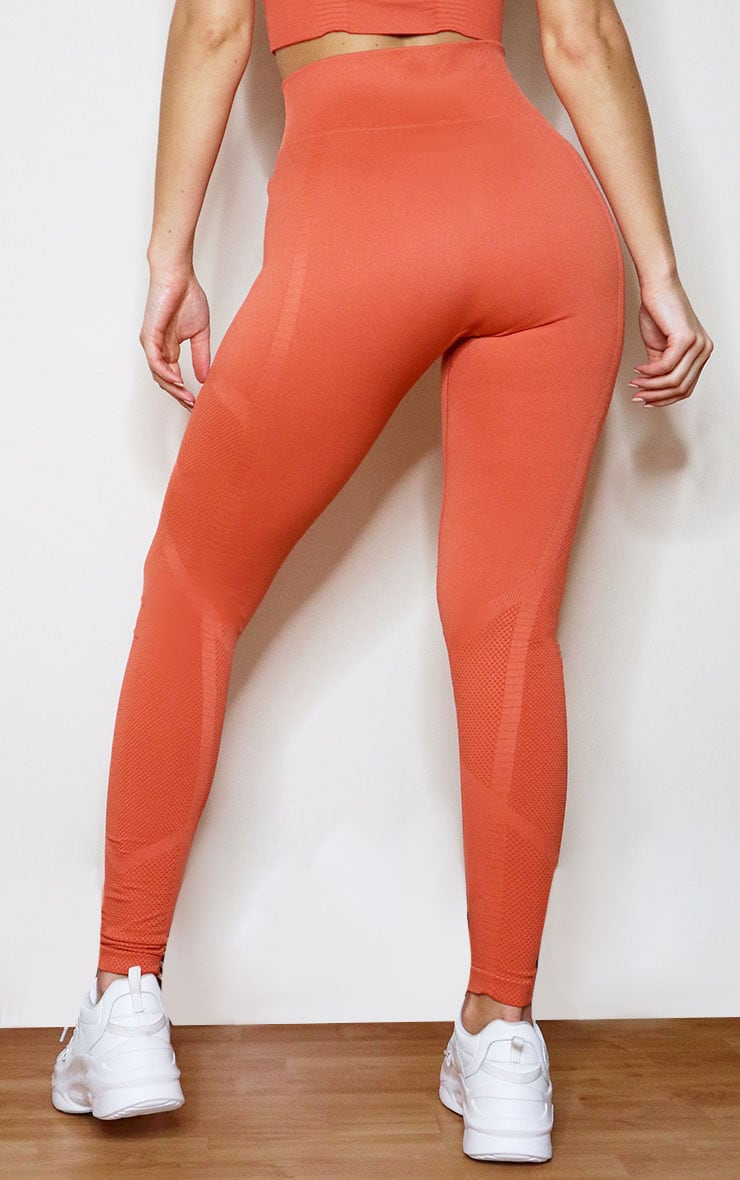 Orange Seamless Gym Leggings 3