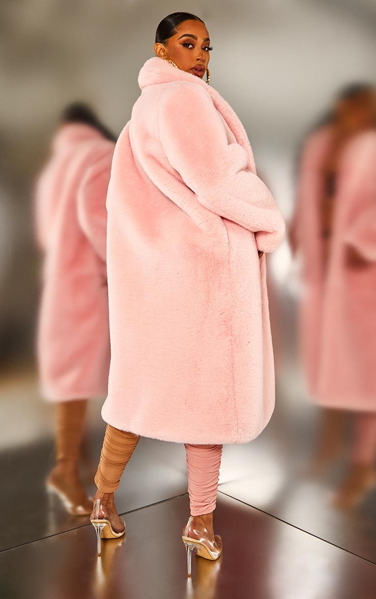 Pink Premium Maxi Oversized Faux Fur Coat 2