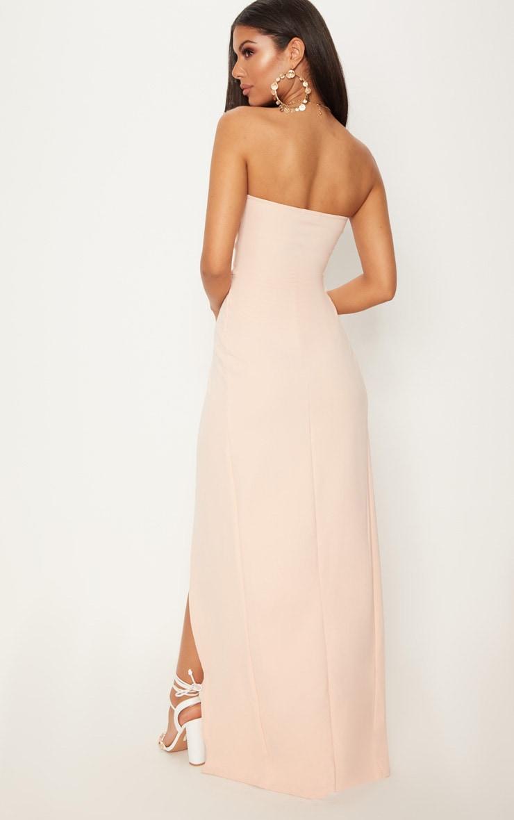 Nude Draped Wrap Detail Bandeau Maxi Dress 2