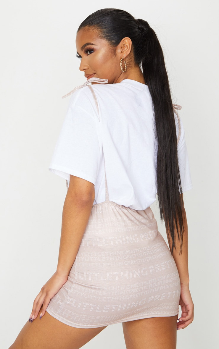 PRETTYLITTLETHING Nude Print Tie Shoulder Jersey Pinafore Dress 2