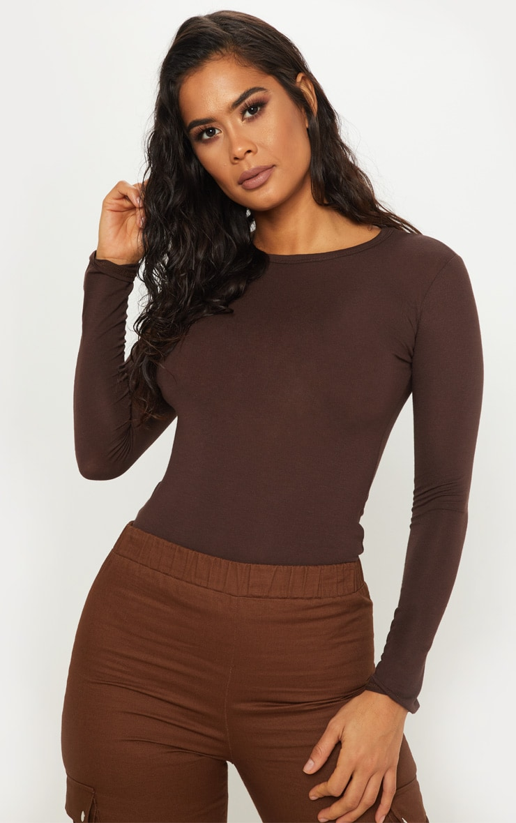 Basic Chocolate Long Sleeve Fitted T Shirt