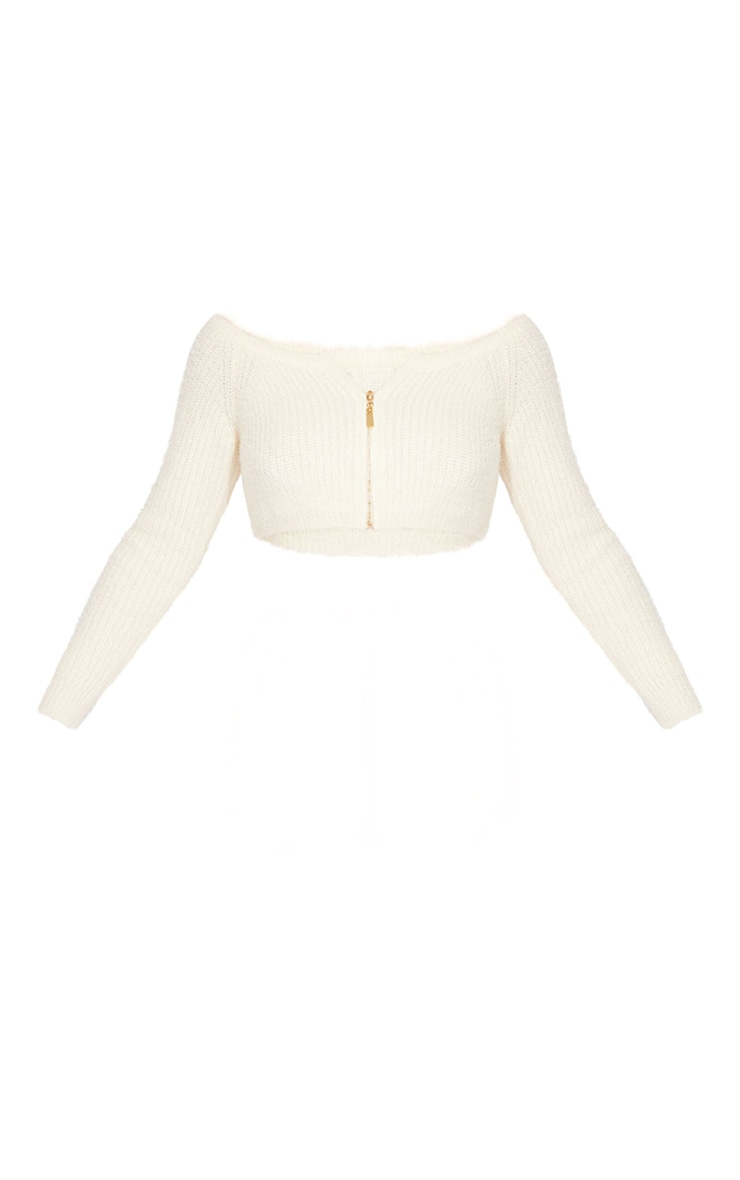Cream Eyelash Knit Zip Through Crop Top 5