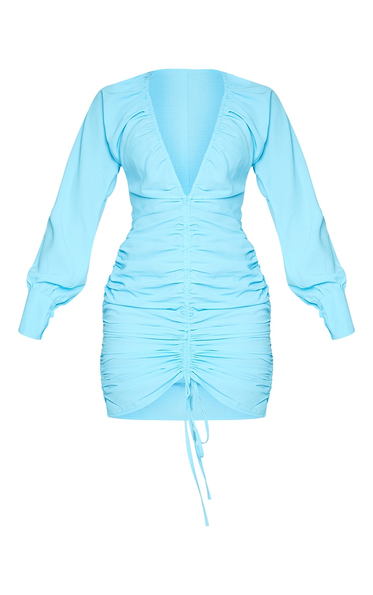 Aqua Blue Woven Ruched Plunge Long Sleeve Bodycon Dress 5