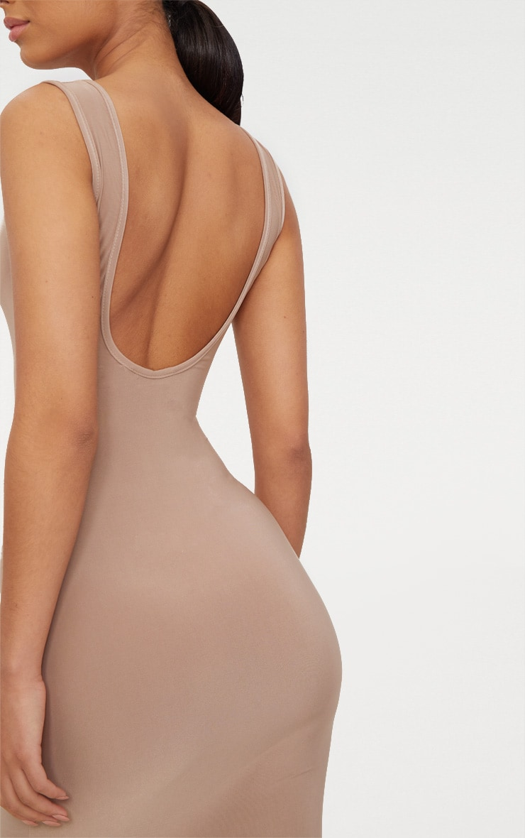 Taupe Scoop Neck Low Back Midaxi Dress 4