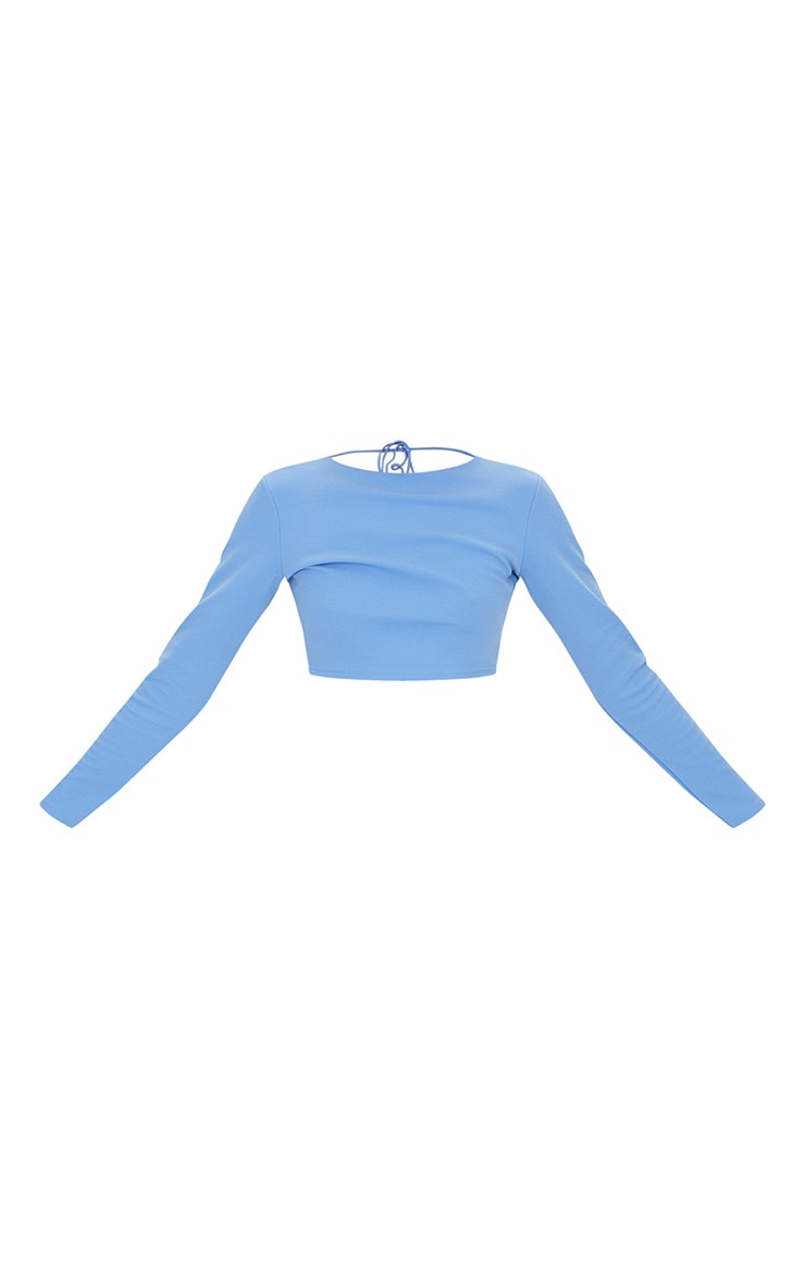 Blue Crepe Backless Long Sleeve Crop Top 5