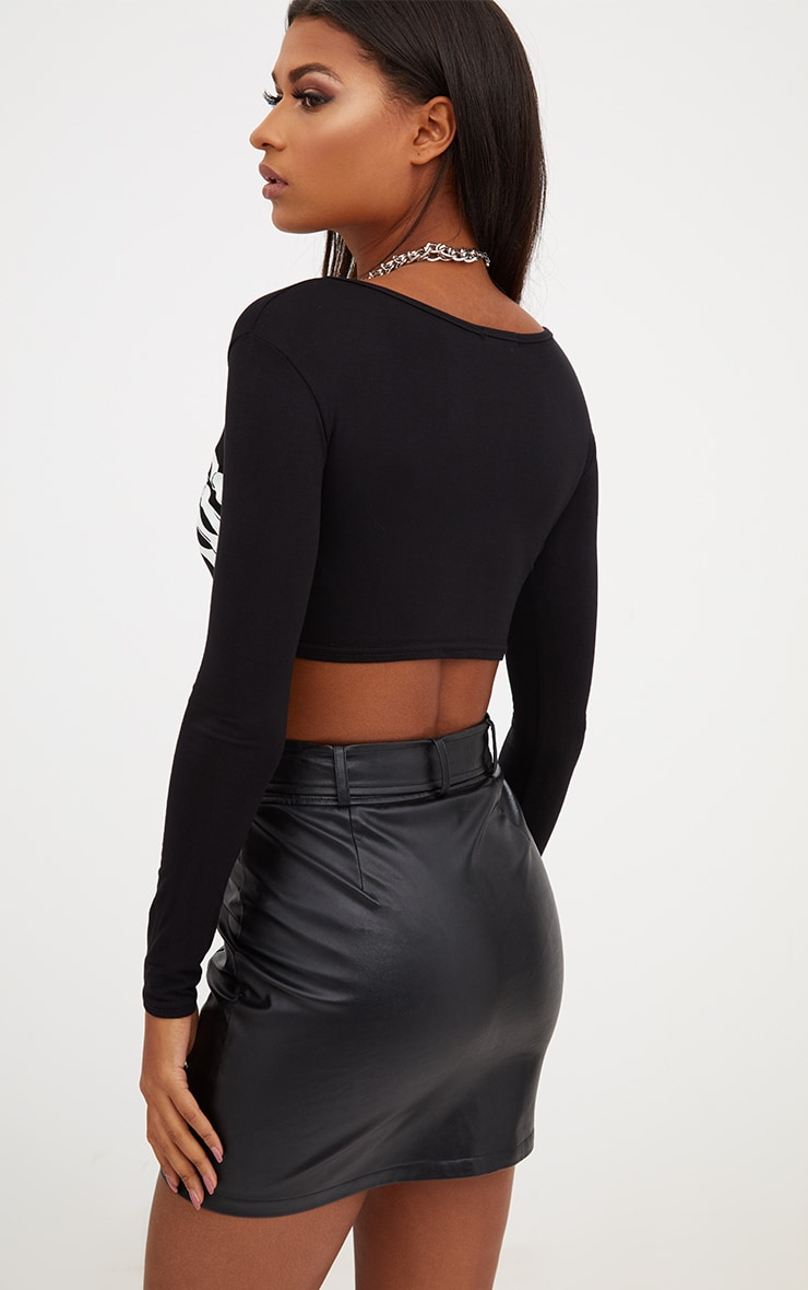 Bellatrix Black Glow In The Dark Skeleton Hand Crop Top 2