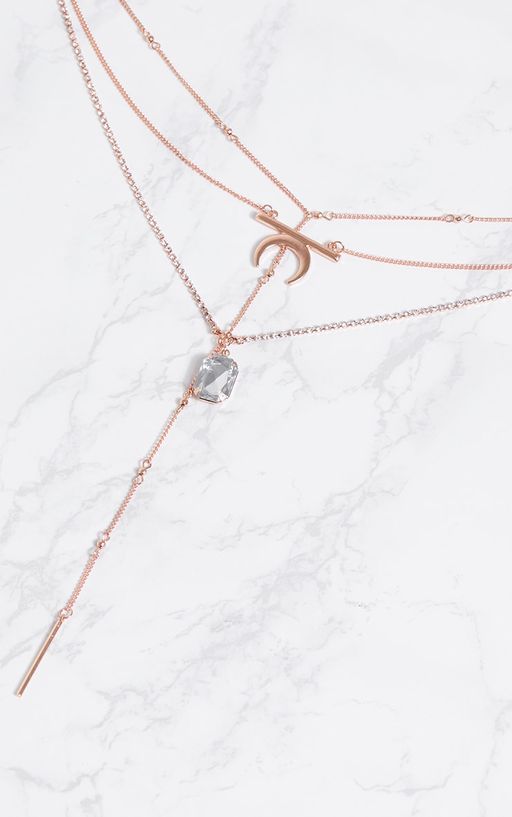 Rose Gold Multi Layer Necklace With Diamante 3