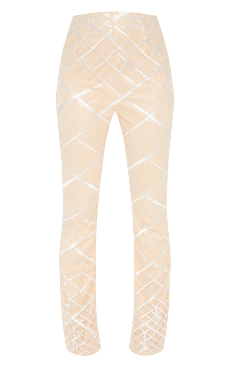 Nude Embroidered Sequin Flared Trousers 3