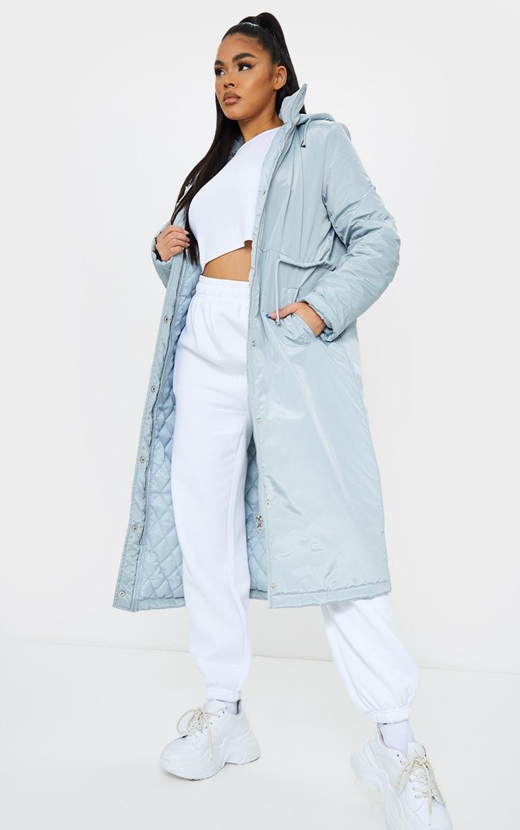Grey Nylon Toggle Waist Maxi Hooded Parka Jacket 1