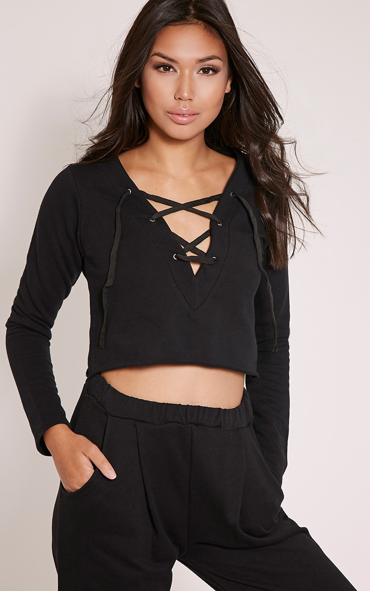 Theah Black Lace Up Crop Sweater 5
