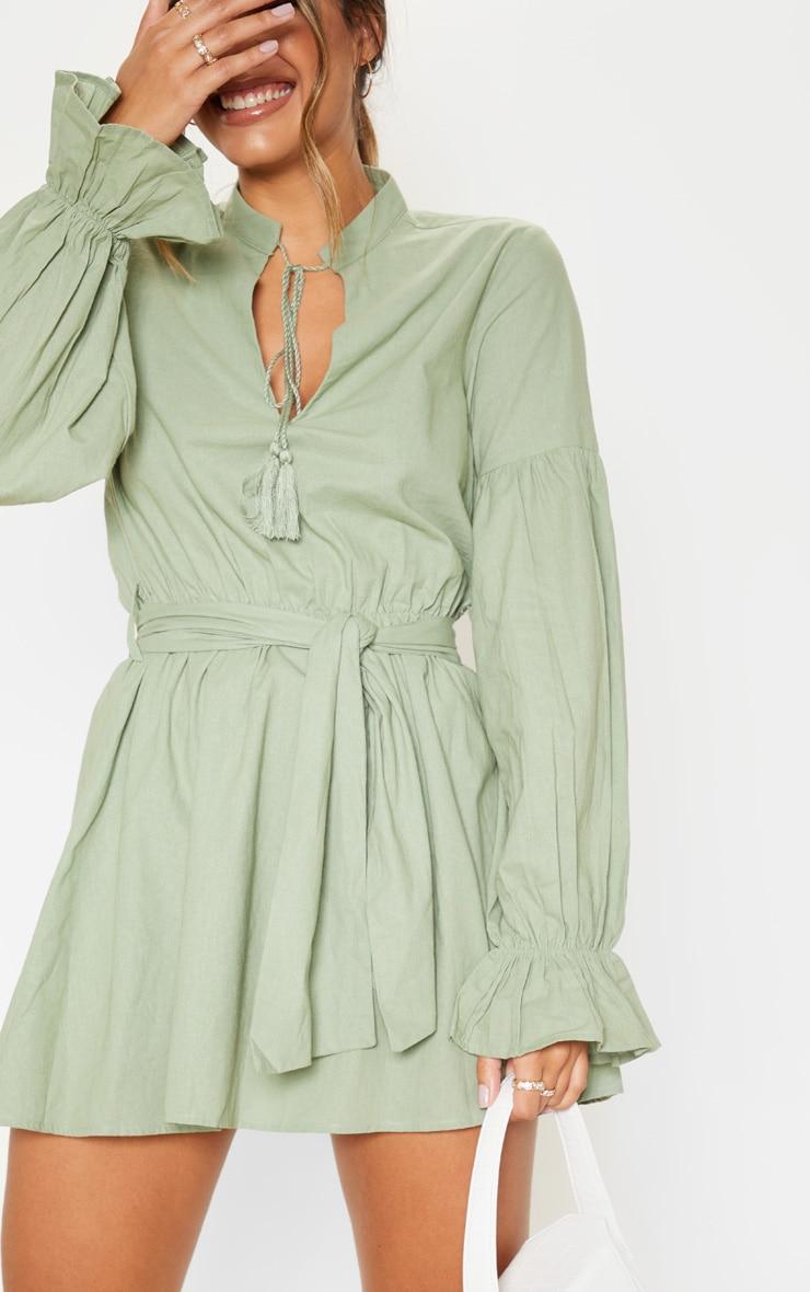 Sage Green Balloon Sleeve Tie Skater Dress 5
