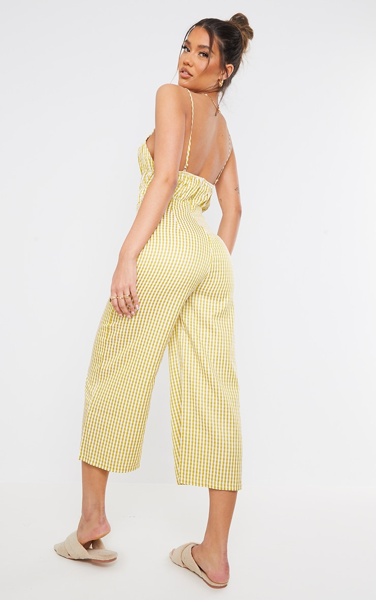 Lime Gingham Strappy Ruched Culotte Jumpsuit 2