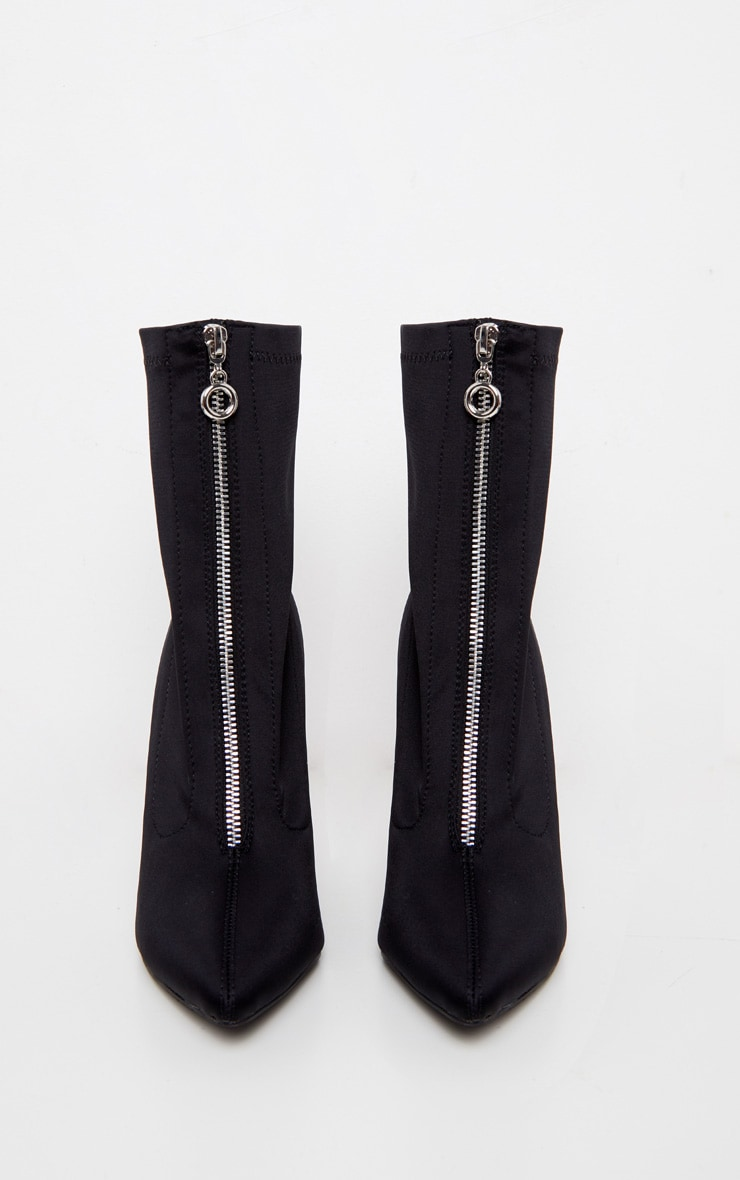 Black Lycra Zip Front Sock Boot 3