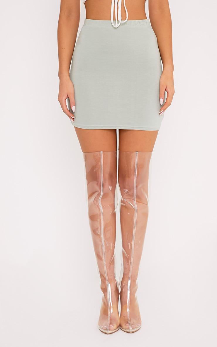 Basic Sage Green Jersey Mini Skirt 4
