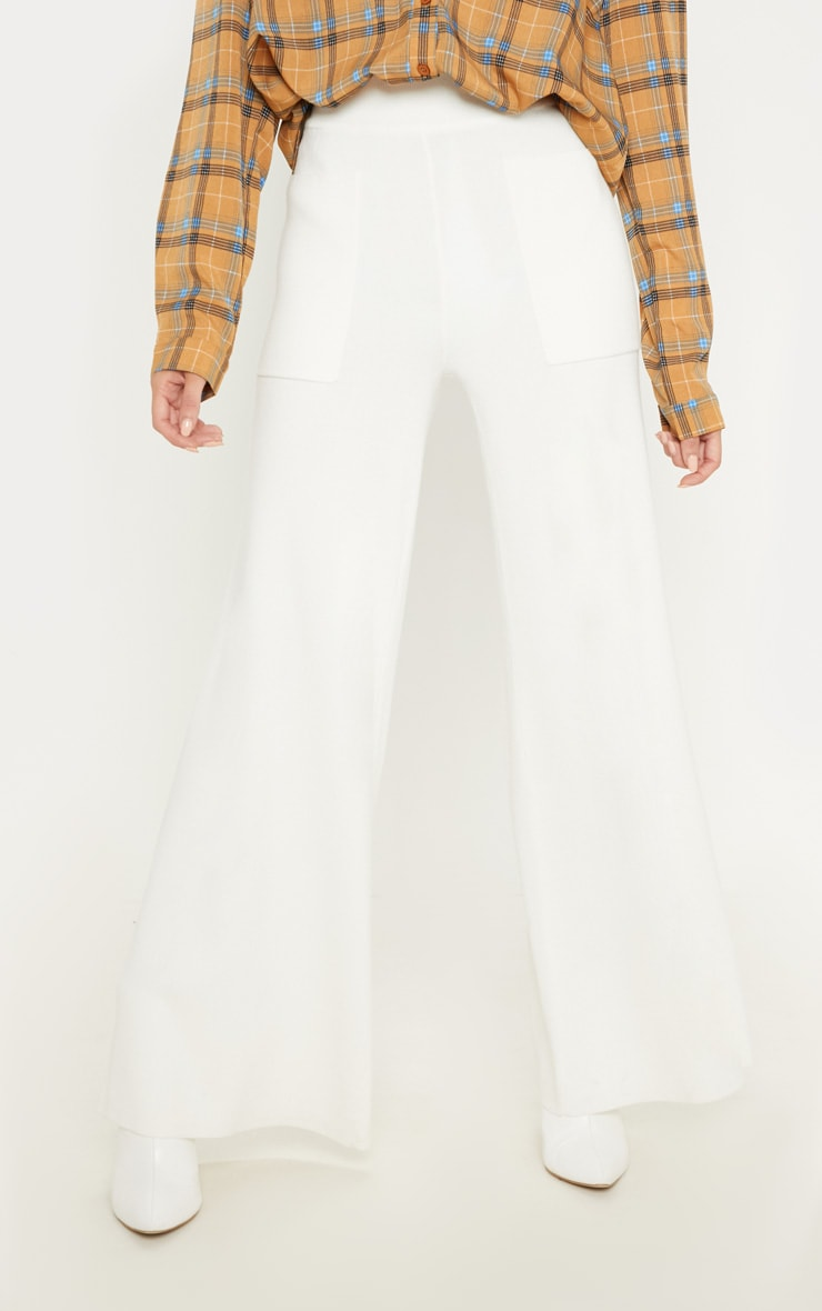 Cream Pocket Front Wide Leg Knitted Trousers 2