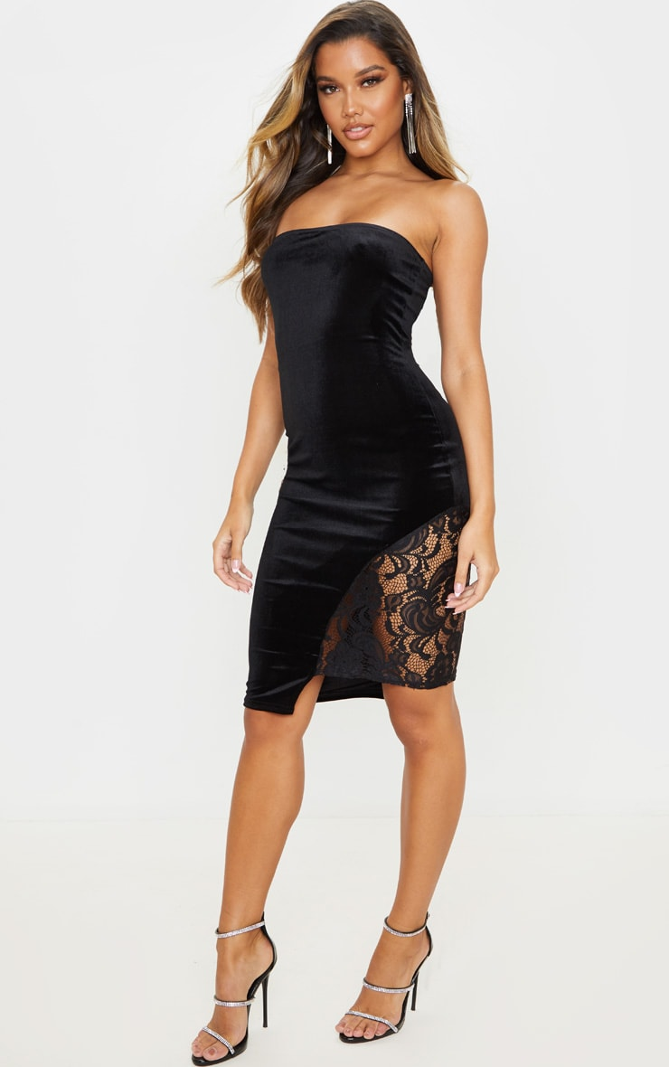 Black Velvet Lace Insert Bandeau Bodycon Dress