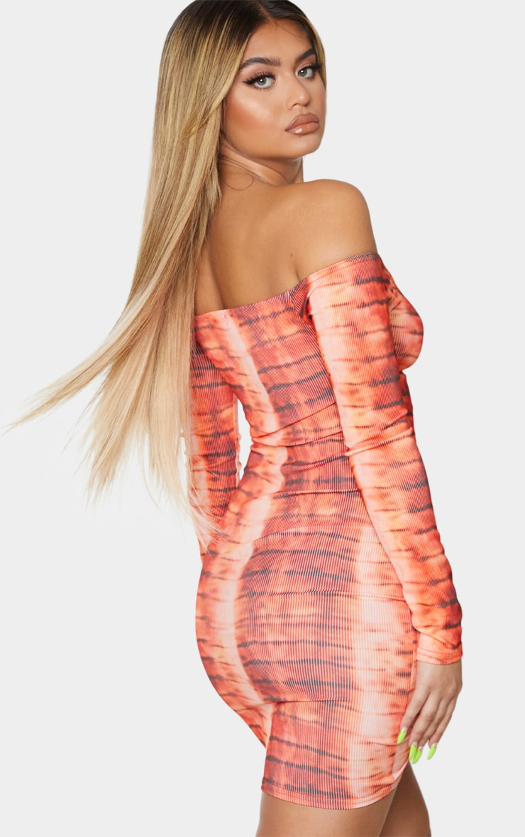 Orange Tie Dye Ribbed Long Sleeve Bardot Ruched Bodycon Dress 2