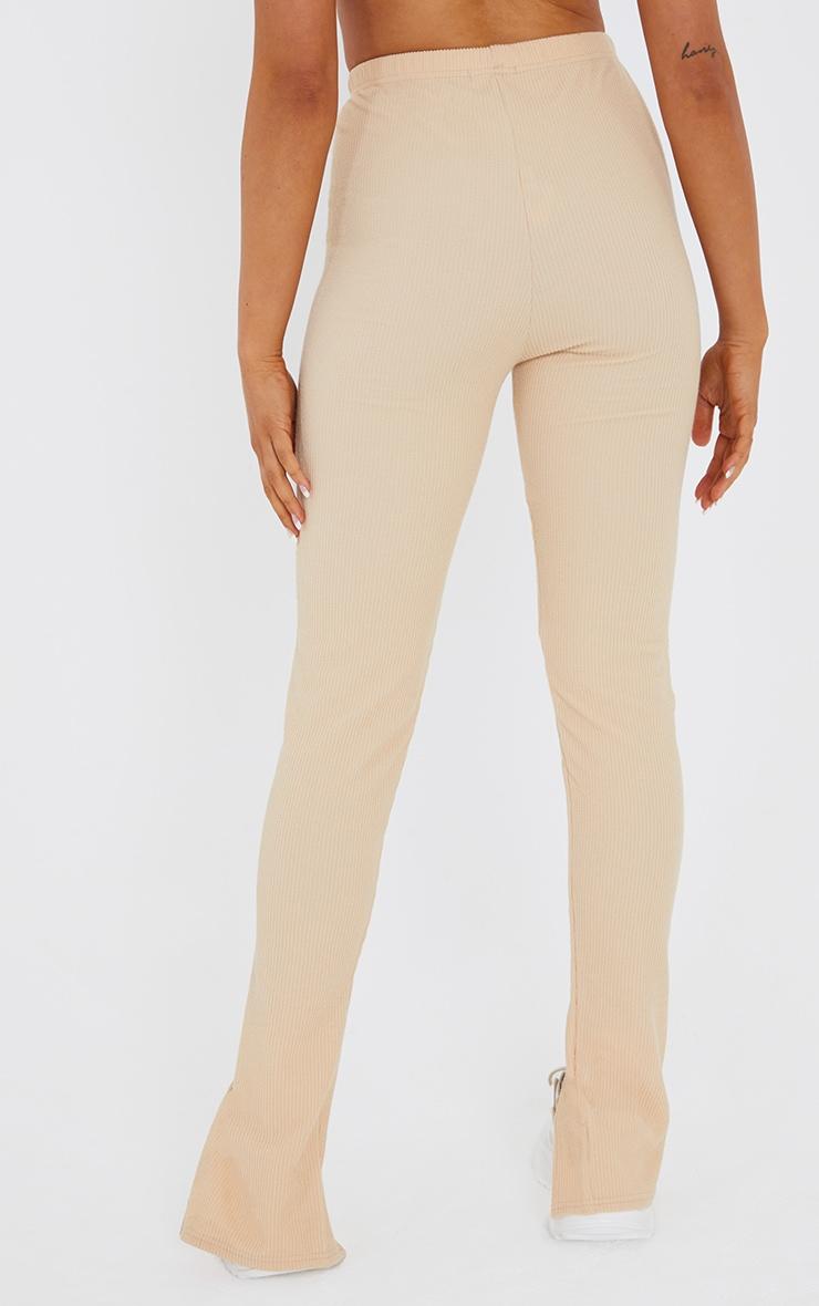 Stone Textured Rib Split Hem Skinny Trousers 3