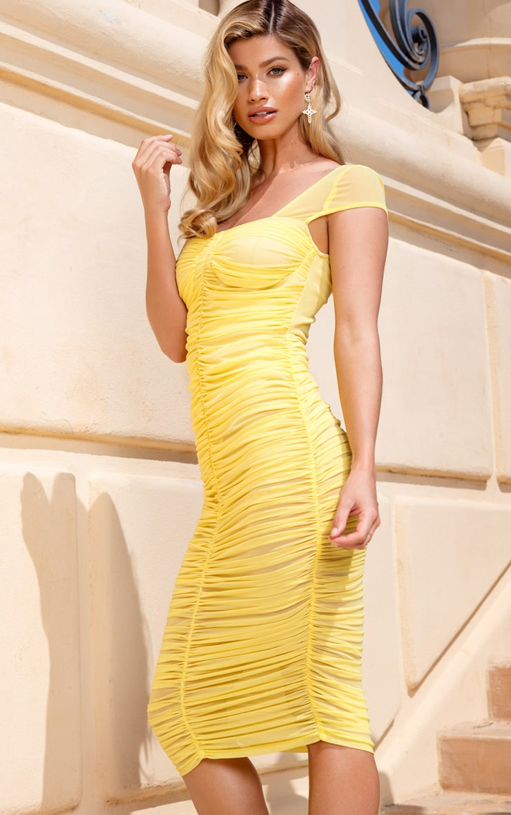 Lemon Mesh Ruched Midi Dress 3