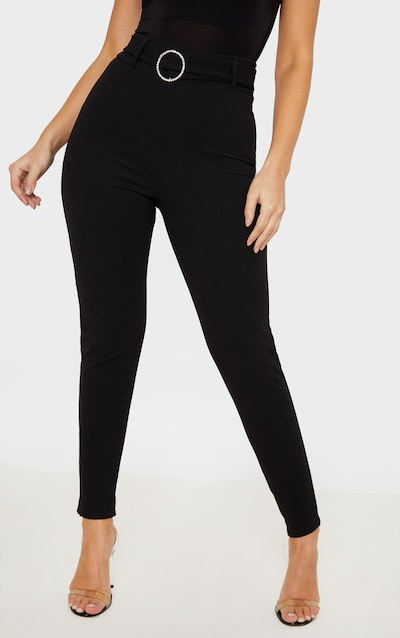 Black Diamante Buckle Skinny Trousers
