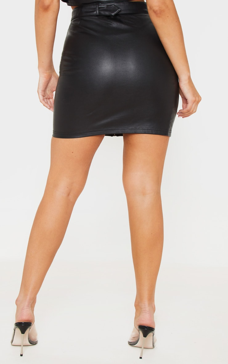 Black Pu Zip Up Belt Detail Mini Skirt 4
