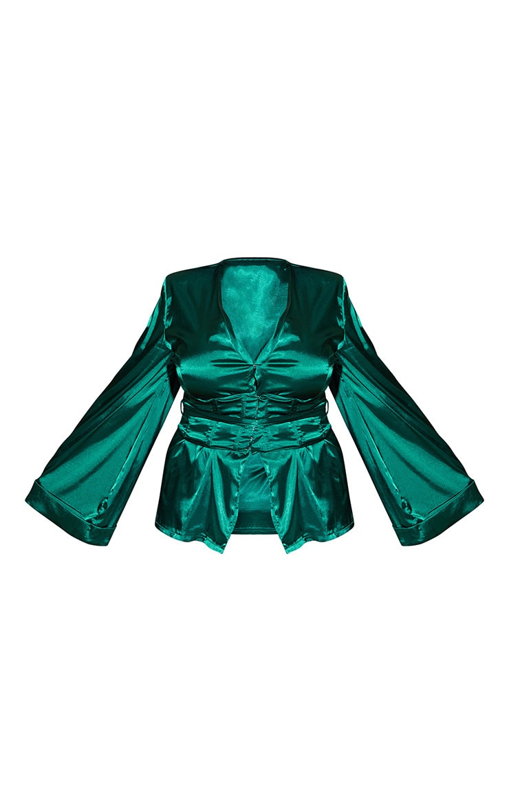 PLT Plus - Blazer satiné vert émeraude style corset  4