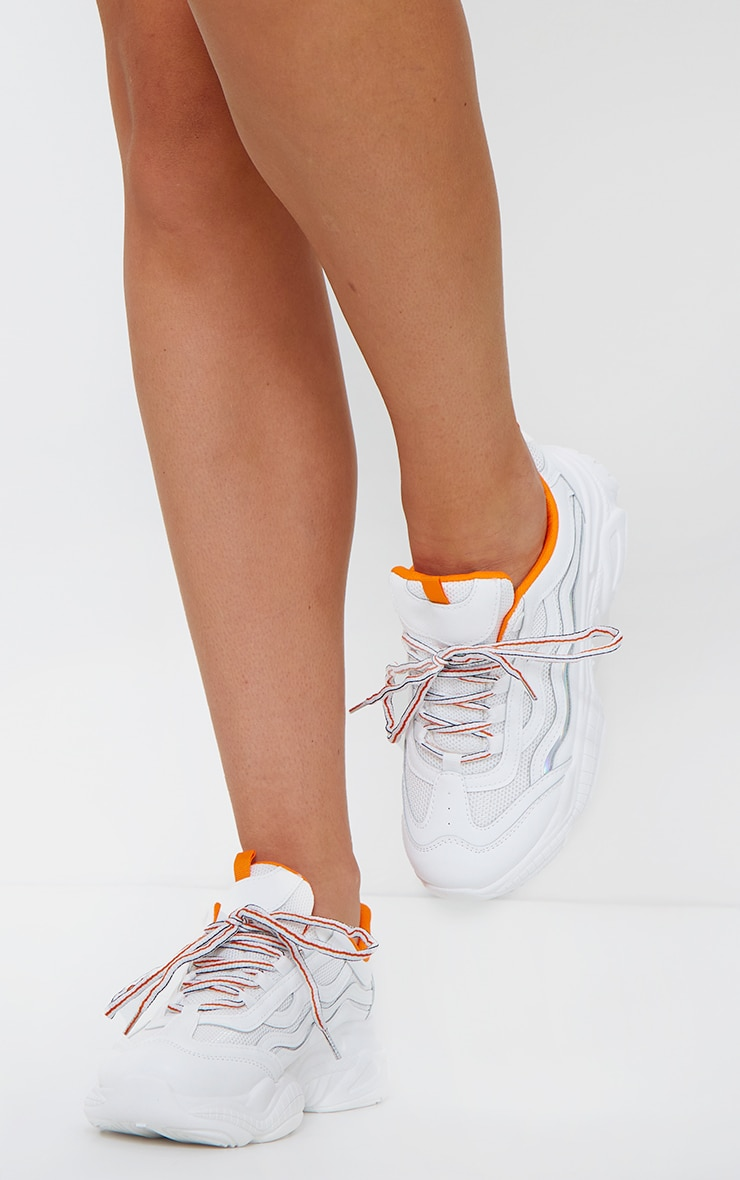 White With Orange Bubble Sole Contrast Panel Sneakers 1