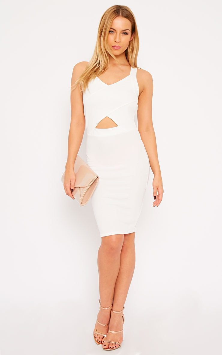 Habiba White Crepe Keyhole Cut Out Mini Dress 1